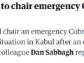 约翰逊将主持紧急会议谈论喀布尔爆炸事件